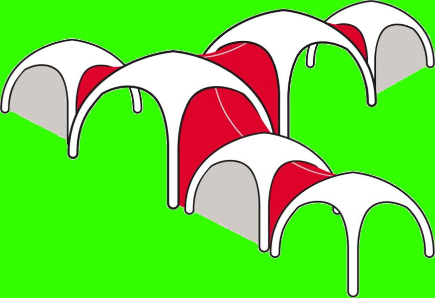 Mit Fusion-Panels verbundene Zelte
